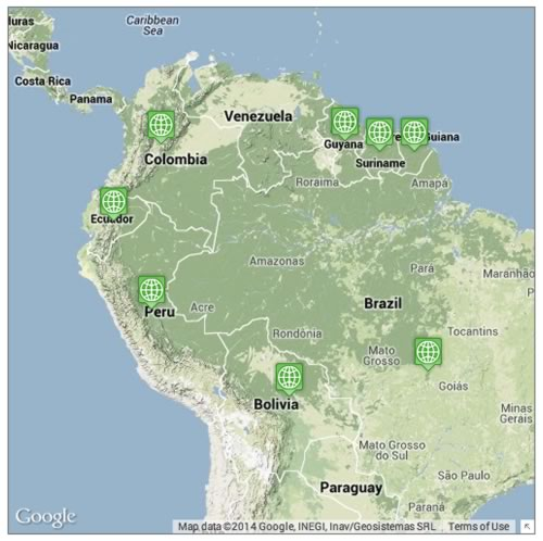 Locations where jaguars can be found